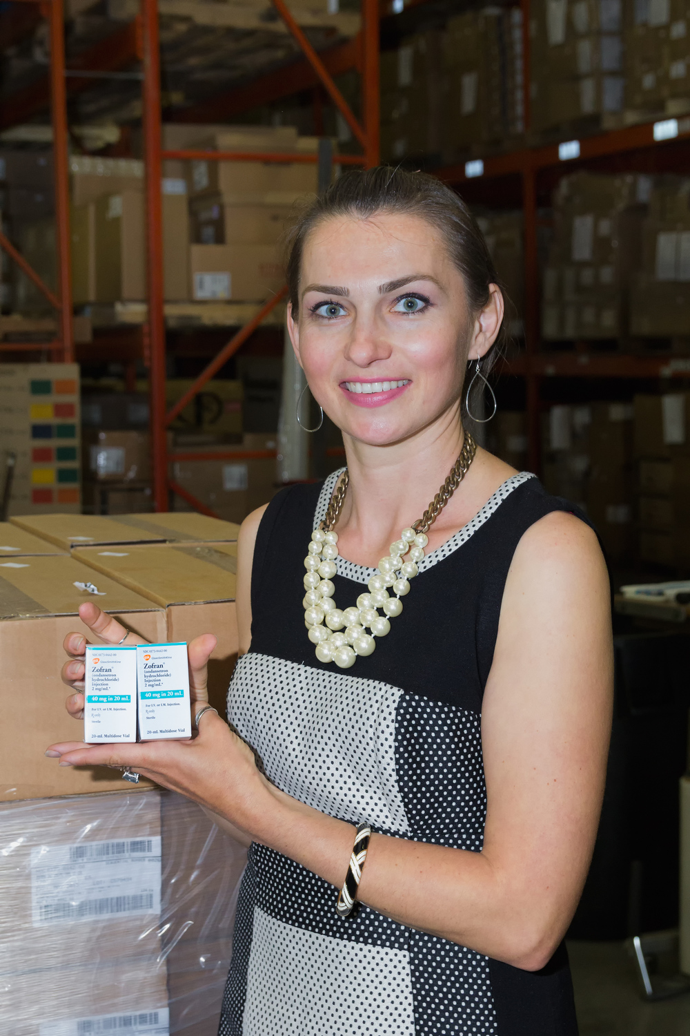Edyta posing with donated GSK product