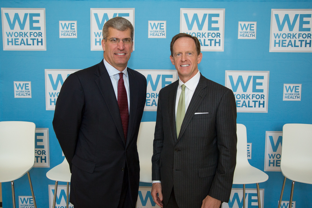 Jack Bailey, on the left, and Senator Toomey, on the right, paused before the We Work for Health PA event.