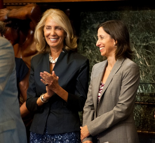 Letizia Amadini Lane, GSK, & Rue Landau, Philadelphia Human Relations Commission, cheer the passing of the bill. Photo credit:Kait Privitera