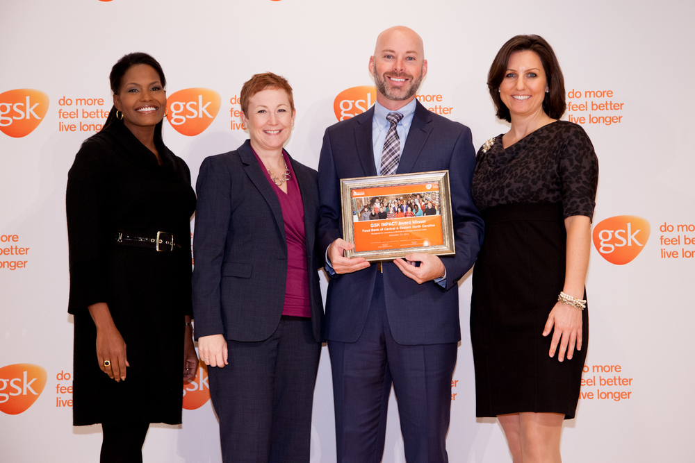 Ashley Delamar,VP Development at theFood Bank of Central and Eastern NC, accepted the award on behalf of the nonprofit.