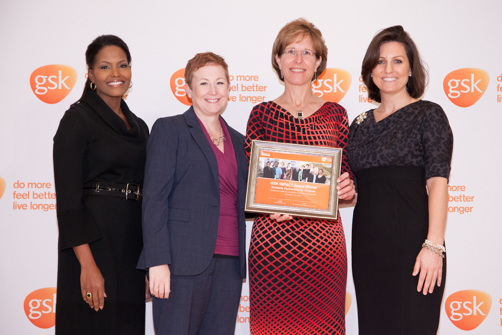 Laura Benson, Executive Director of Durham's Partnership for Children, accepted the award on behalf of the nonprofit.