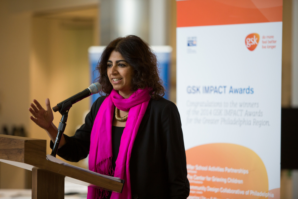 Simran Sidhu, YouthBuild Philly, accepted the IMPACT award on behalf of the organization