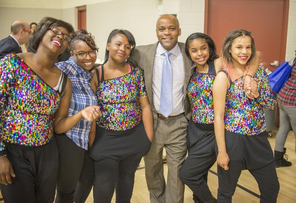 Mayor Michael B. Hancock with the St. Charles dance team.