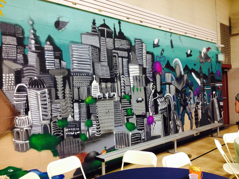 One portion of the new mural in the Stapleton teen room.