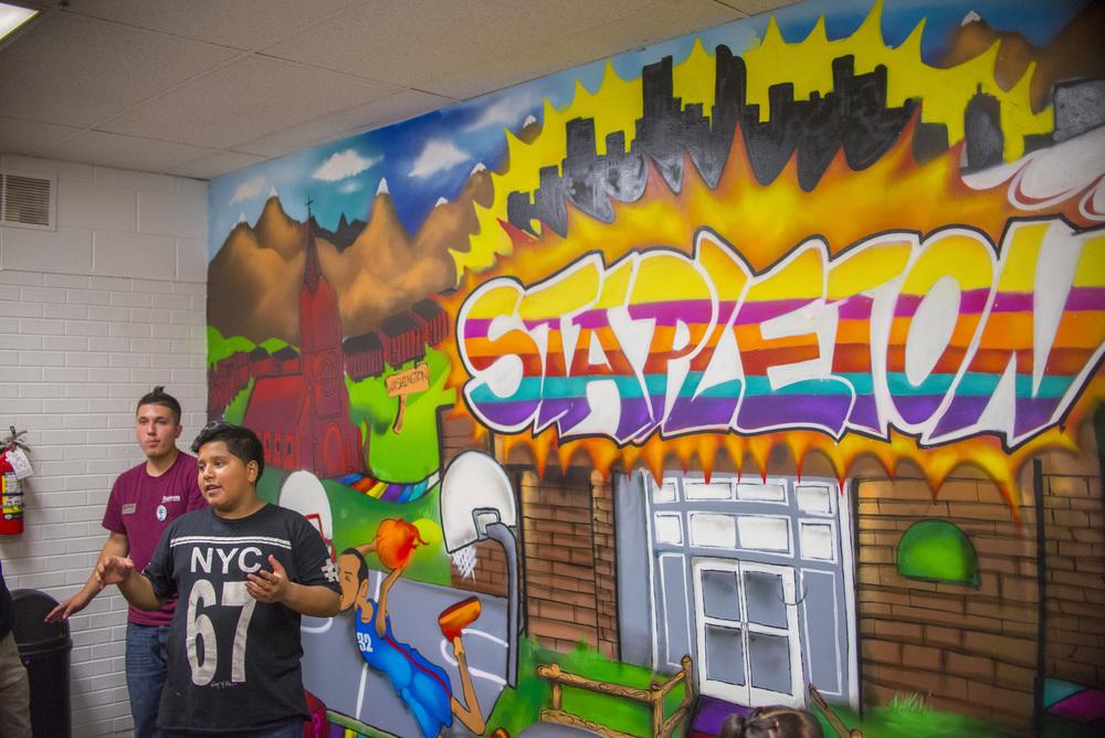 Presentation on the new mural in the Stapleton teen room.