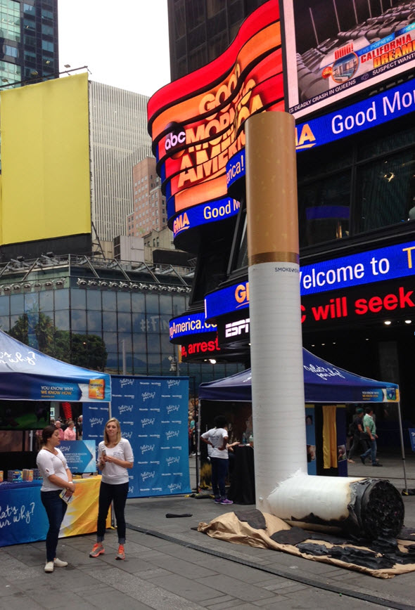 Our 20-foot tall smashed-out cigarette in Times Square encourages smokers to quit.