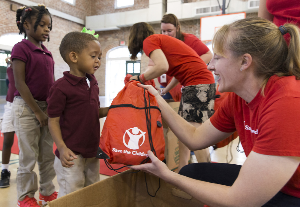 Each kid received their own disaster backpack with essential supplies like flashlights, toiletries, notebook and crayons – and a soft, huggable stuffed animal.