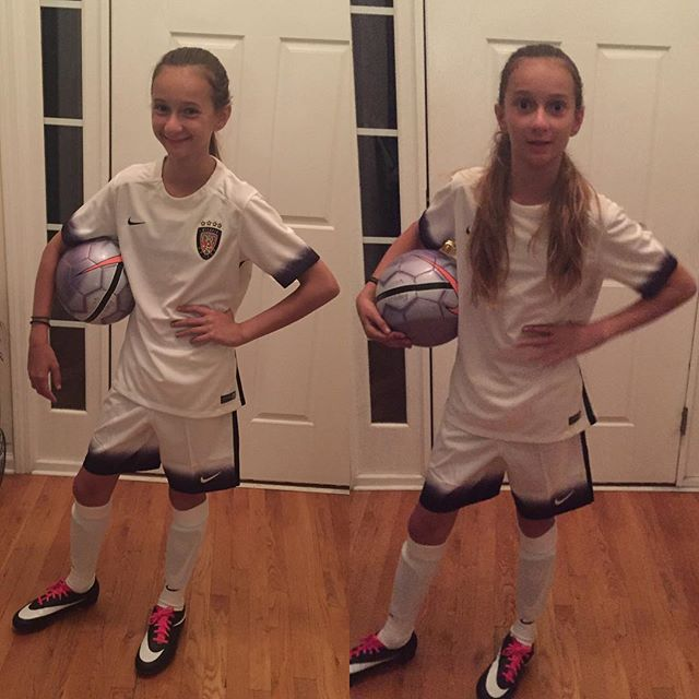 New unis arrived today for her U14 season - here is the White.