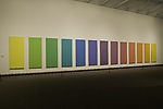 This is on view at the Metropolitan Museum of Art. Went there last Sunday. They are working on their new space for modern art. I was surprised to see what they have in their collection. This is Spectrum V by Ellsworth Kelly. It's oil on canvas, from 1969. The panels are huge and the colors are vibrant. This makes my heart sing!