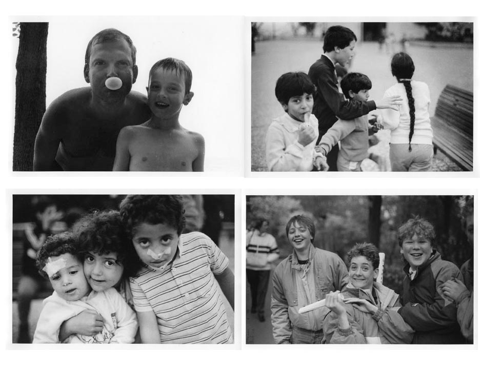 Clockwise  Canada, Lake Erie, 1992  Paris, La Defense, 1986  Netherlands, Keukenhof, 1987  Paris, La Defense, Immigrant children, 1986
