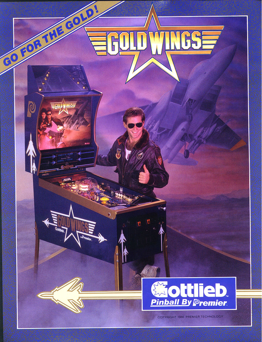 Flyer for Gottlieb Premier's Gold Wings.  Note the awesome chest hair!
