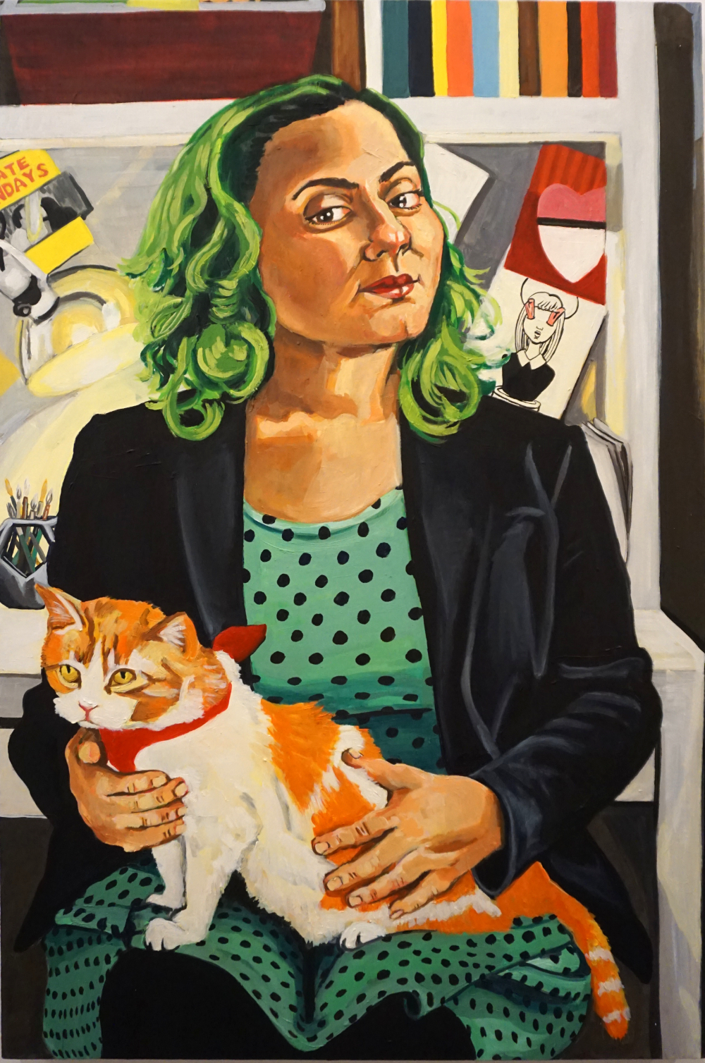 I see no evil with you by my side (portrait Loretta Lomanto and her feline muse Suzie)