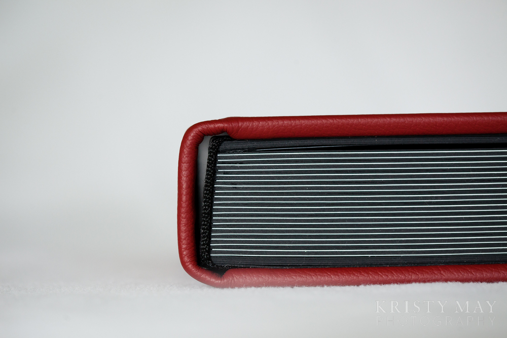 Red leather black matted album