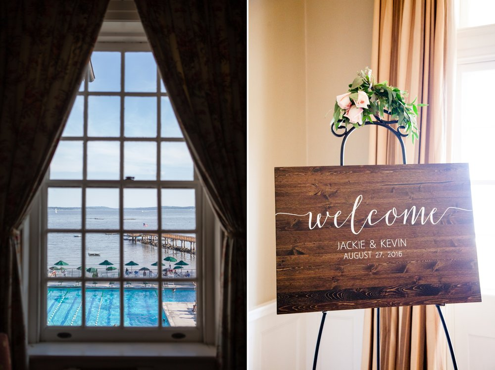 Wedding welcome sign at Coveleigh Club in Rye, New York