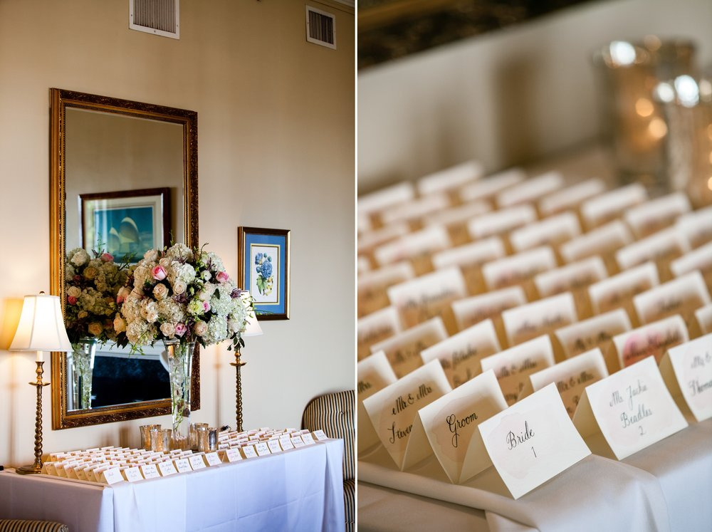 Wedding seating cards at Coveleigh Club in Rye, New York