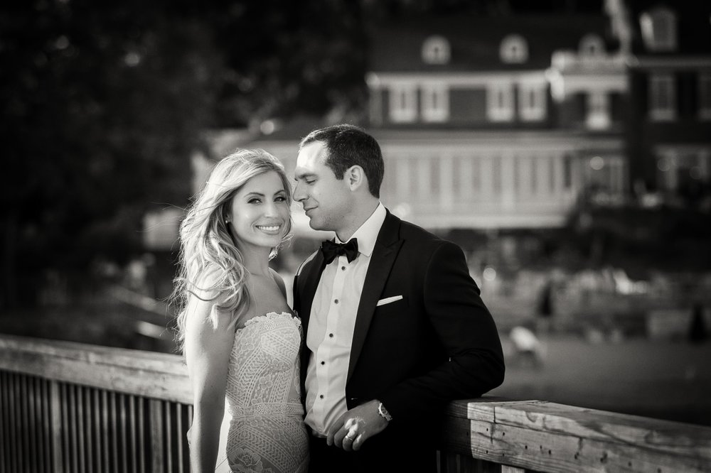 Wedding portraits on pier at Coveleigh Club in Rye, New York 2