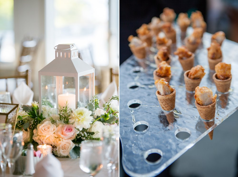 Wedding decor and food at Coveleigh Club in Rye, New York