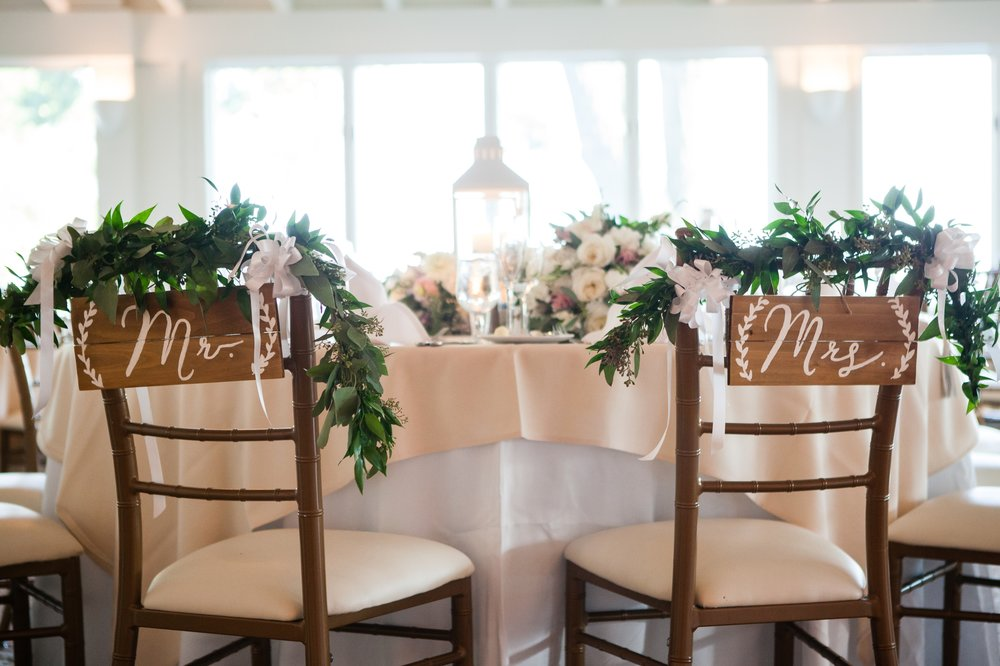 Rustic wedding Mr and Mrs seating signs Coveleigh Club in Rye, New York