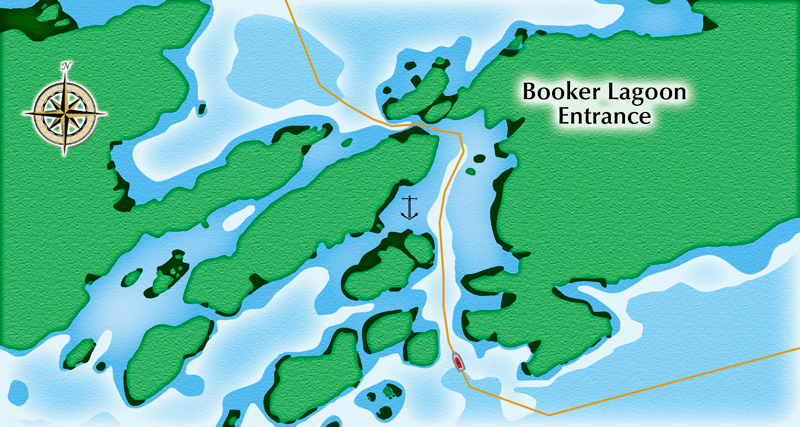 Booker Lagoon entrance - NOT FOR NAVIAGTION