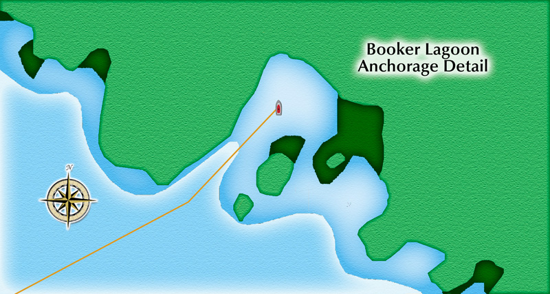 Booker Lagoon anchorage detail - NOT FOR NAVIGATION