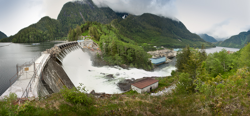 The damn is the reason Ocean Falls exists. Hydro-electric power is sent  to Bella Bella and Shearwater