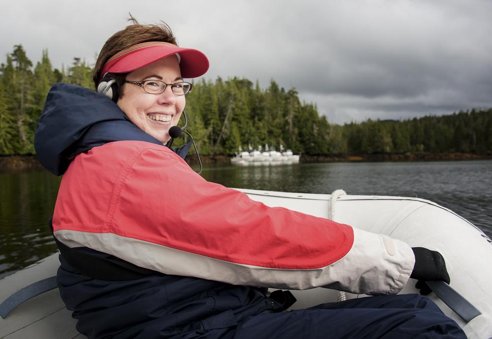 Karen in her favorite spot in the dinghy