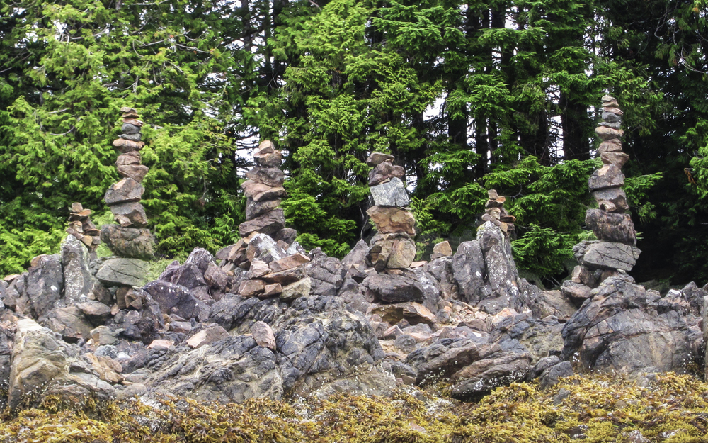 An elaborate Inukshuk at one of the kayak camps