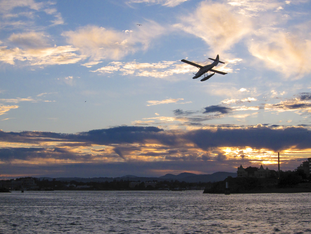Seaplane tries to beat the last light of the day
