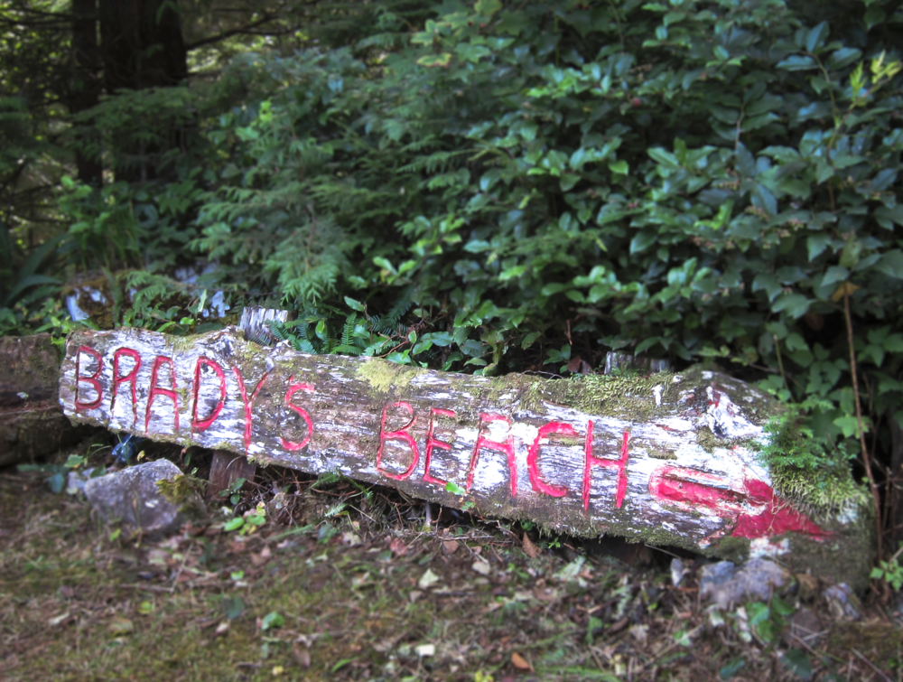 You find lots of homemade sign pointing the way to Brady's Beach