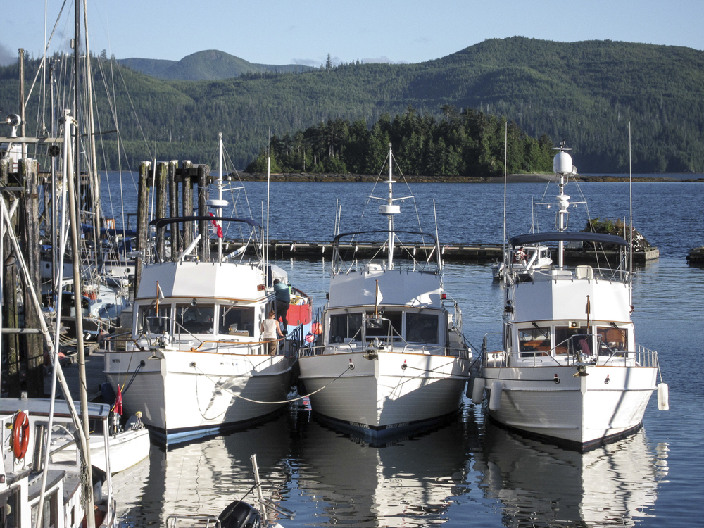 Three of the fleet rafted in Queen Charlotte City
