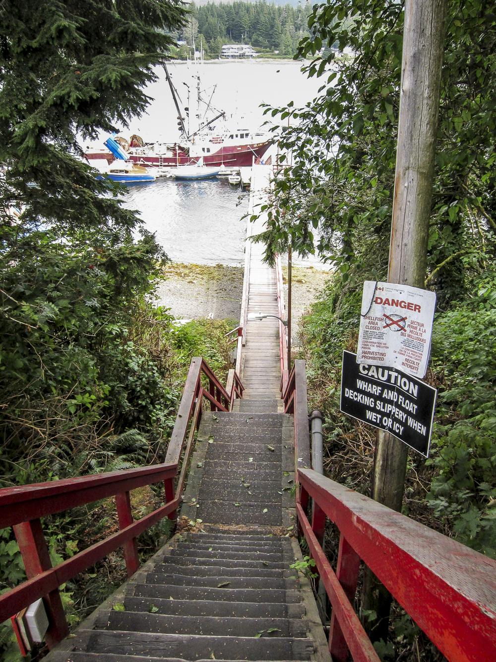 52 steps down to the working docks on the main inlet to Ucluelet