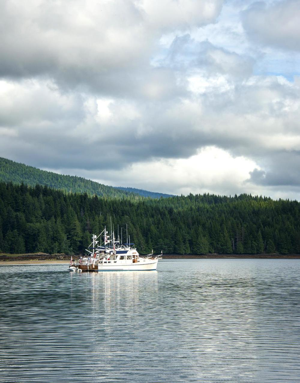 Part of the fleet anchored in Crescent Inlet