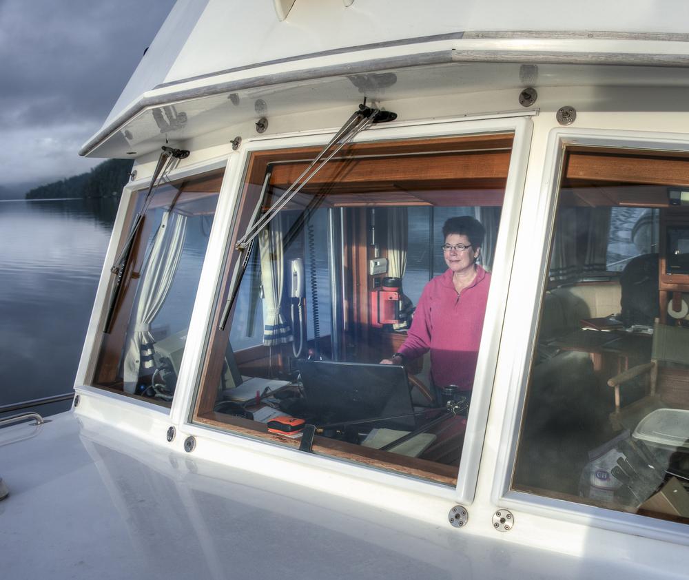 Karen at the helm