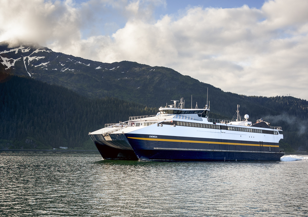 Alaska high-speed ferry Chenga coming out of Cordova