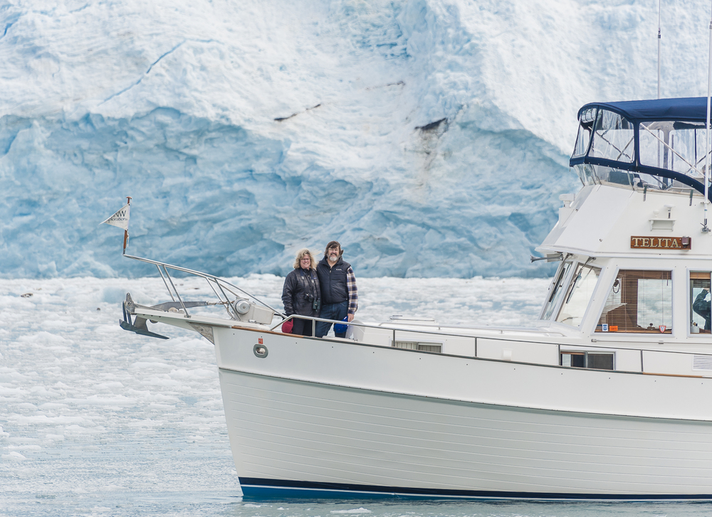 Lance and Kathy, the owners of  Telita  enjoying the Mears Glacier