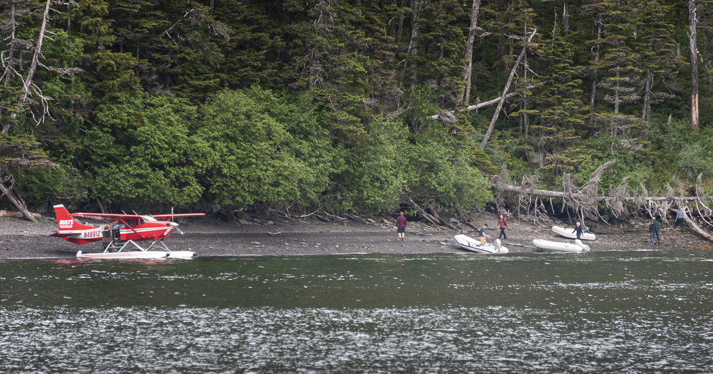 Some explorers arrived by float plane as our explorers form Mother Goose beached their dinghies