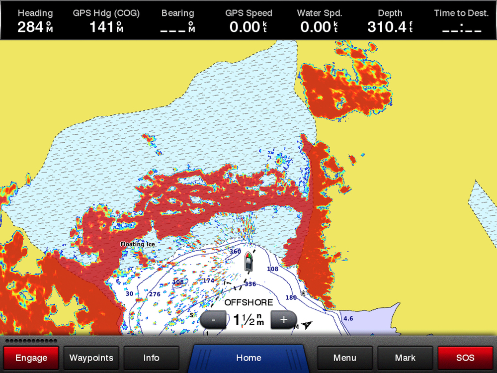 Notice the difference between the charted location of the glacier face and the radar return