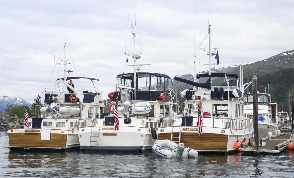 Three abreast on Bravo dock
