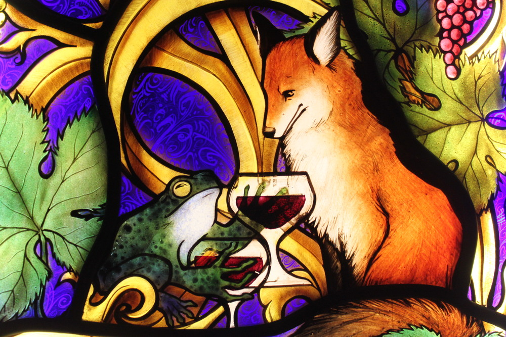 Indre McCraw Gordon Stained Glass wine cellar detail fox and frog.JPG