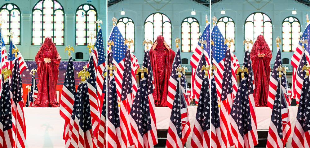 Red Chador, Furies & Muses (The Red Chador: Thresholds) by Anida Yoeu Ali; Photo Les Talusan/Smithsonian APA Center.