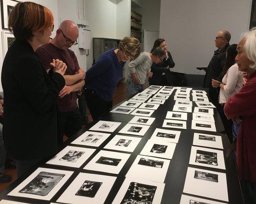 Pamela Gentile presents work at the members' critique.