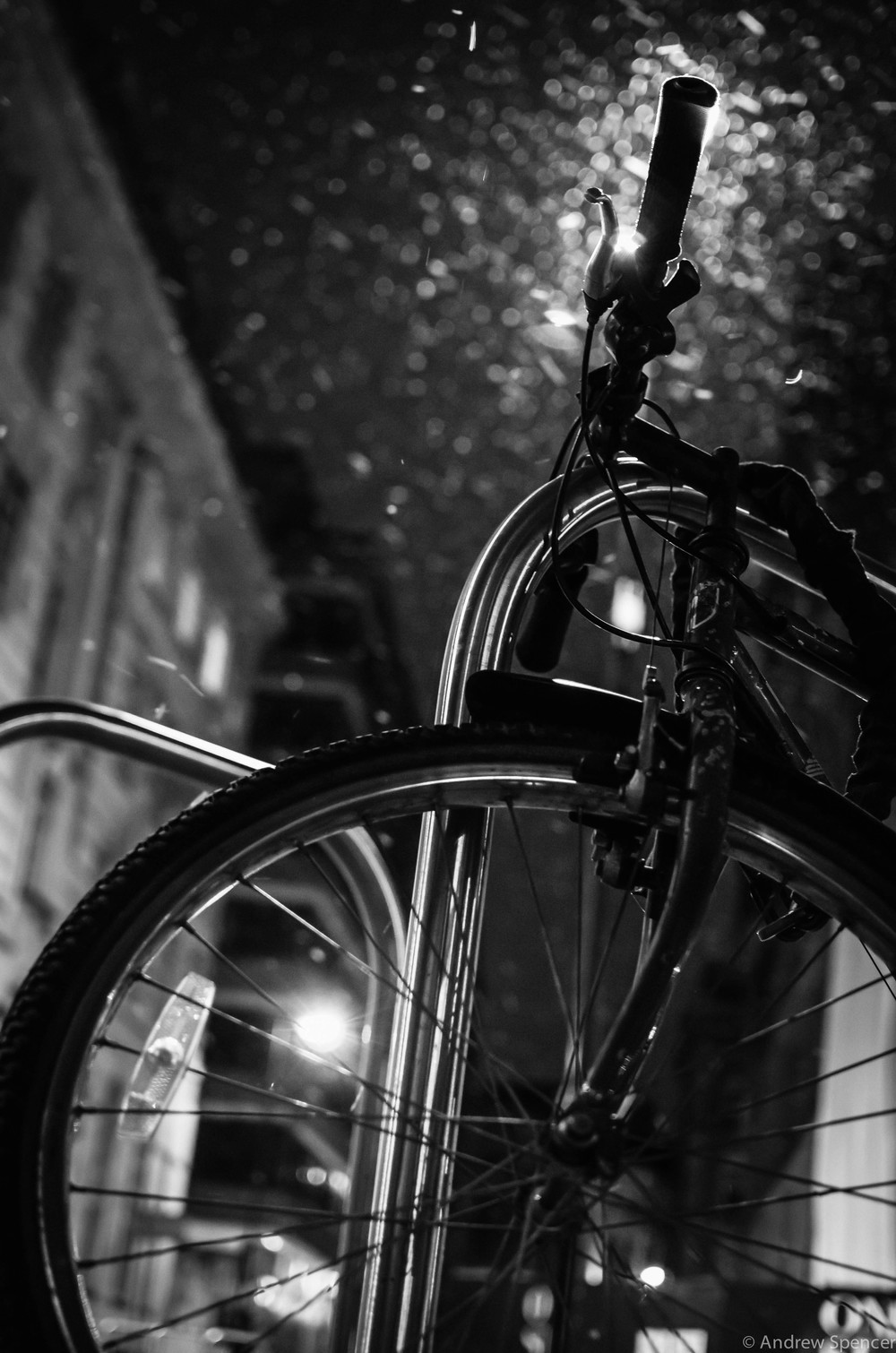 12)   Winter bike:   After a snowy night on the ale in Manchester, I took this. Beer and photography can mix.