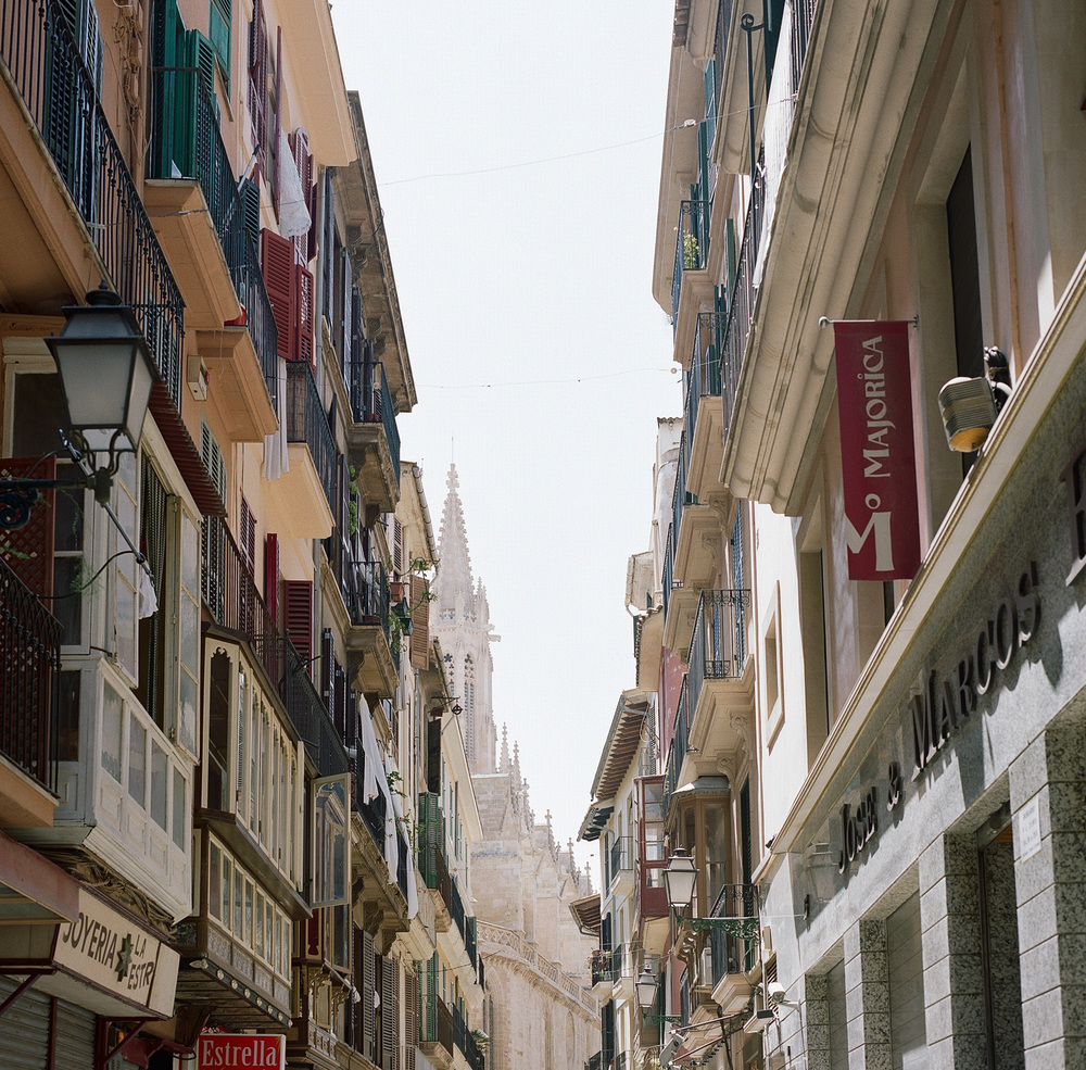 The streets of Palma with the Cathedral in the distance