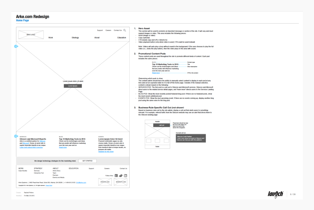 Wireframe Documentation - Homepage