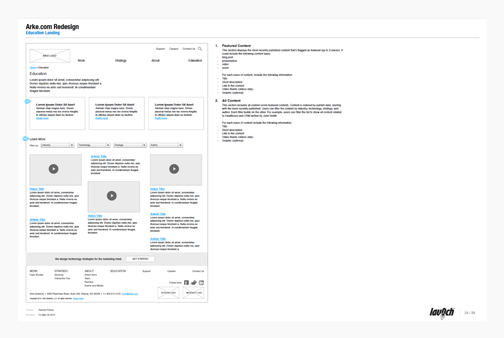 Wireframe Documentation - Education Landing Page