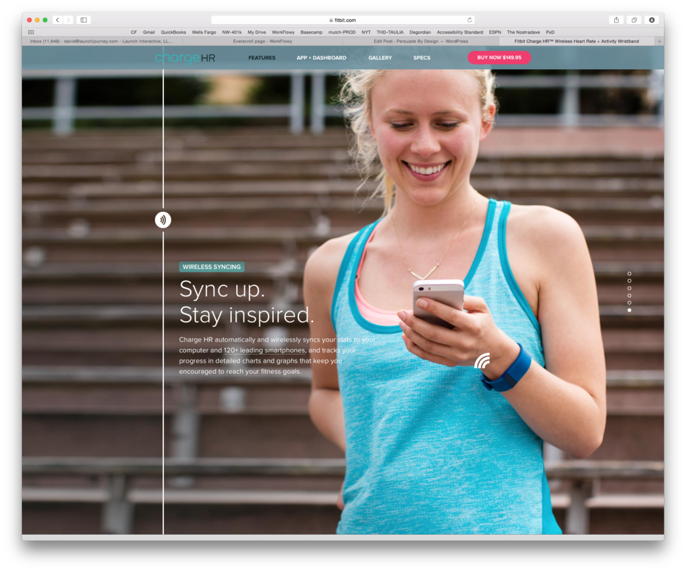 FitBit breaks their content into easily digestible chunks, free of distraction.