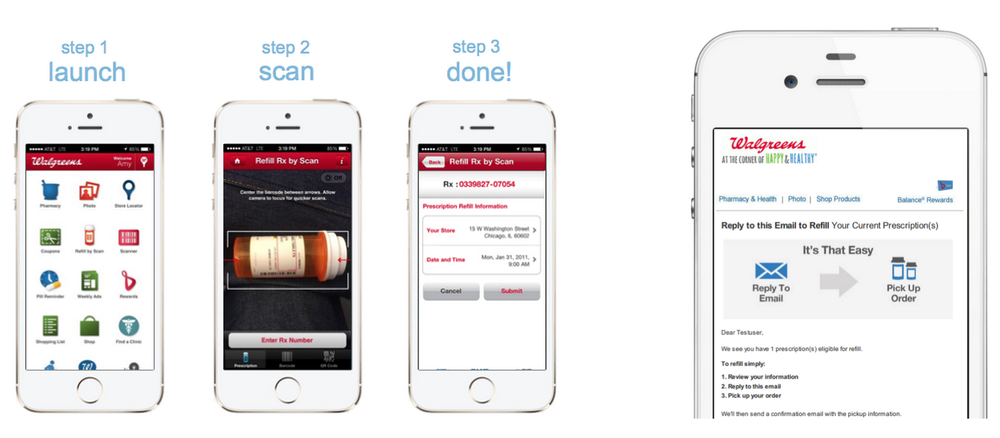 Screenshot of how to refill a prescription through the Walgreens app or through email.