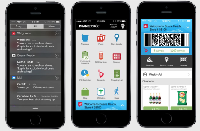 Screenshot of Walgreens app and how it uses geofencing and Passbook.