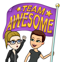 My coworker Astrid and I as Bitmojis.