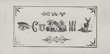 "Example of a Rebus puzzle. This escort card reads, ""May I see you home my dear?"""